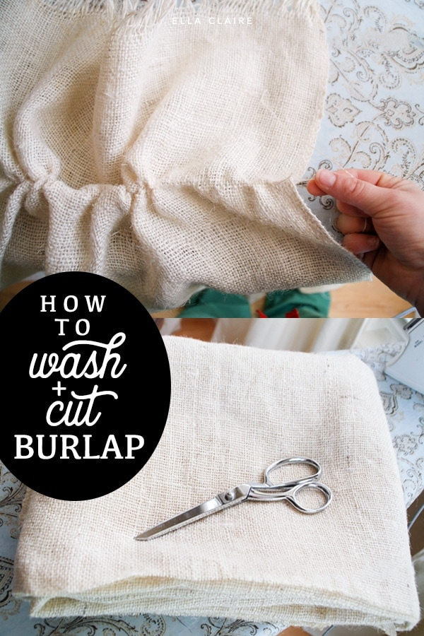 How to cut and wash burlap fabric to make DIY home decor and crafts #curtains #fabrics #dropcloths #shabbychic