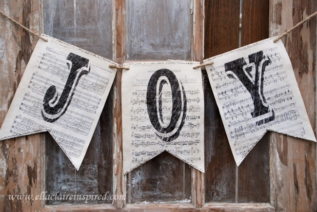 Vintage Sheet Music Christmas Banners - Ella Claire