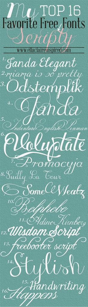 My Top 16 Favorite Free Scripty Fonts Ella Claire Co