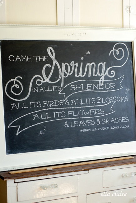 spring chalkboard art with printable template ella claire