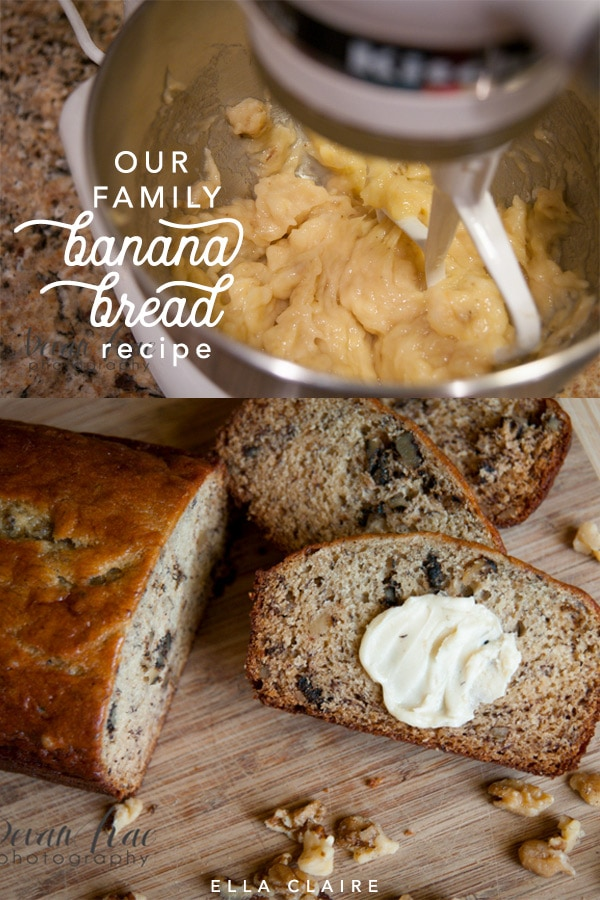 Passed down for 4 generations, our family banana bread recipe is easy and so yummy! #best #walnut #moist