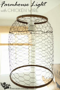 Farmhouse Light with Chicken Wire by The Wood Grain Cottage