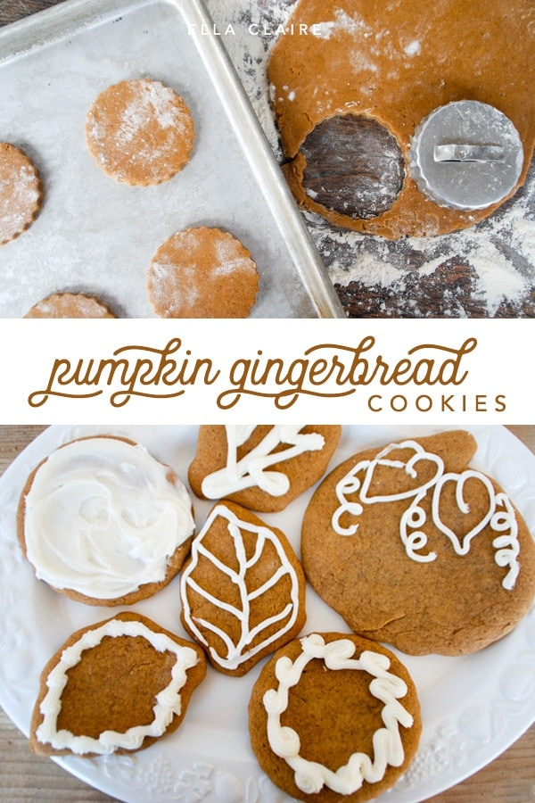 Spiced pumpkin gingerbread cookies- a delicious Fall treat- rolled cookie can be cut into any shape and decorated. #holidays #baking #gingersnaps #gingerbread #pumpkinrecipes #Fallbaking