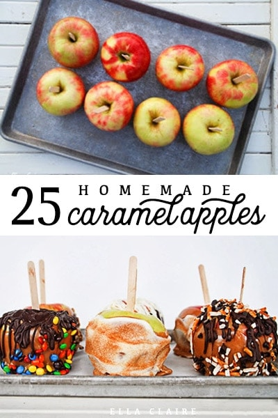 A caramel apple topping bar is a great idea for kids around Halloween, and with 25 different combinations of toppings, you're sure to please everyone