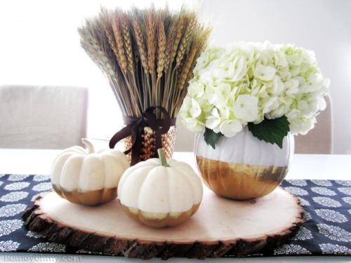 Gold Dipped Flower Vase Pumpkins and other fun pumpkin ideas.