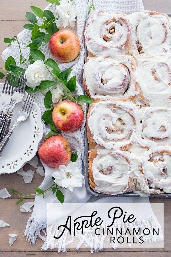 Fresh baked cinnamon rolls get a delicious Fall apple pie twist with this easy, homemade recipe. #breakfast #simple #bake
