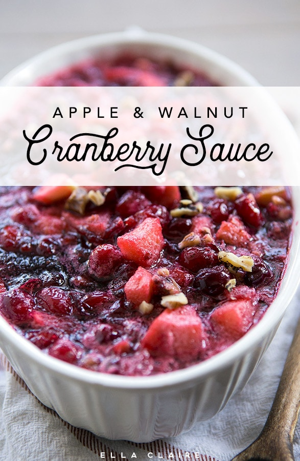 A delicious homemade cranberry sauce with fresh apples, cranberries, and walnuts- an easy and beautiful touch for your Thanksgiving dinner!
