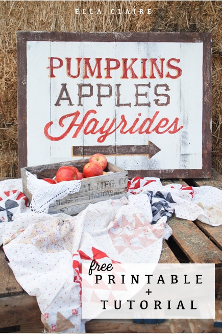 The original Pumpkins, apples, hayrides DIY sign- tutorial and free printable template included.