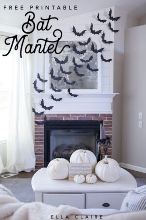 Create an easy and inexpensive Halloween Mantel by using this template to use varying sizes of bats to create a flying motif. # Halloween Fall #Black #bats #vintage
