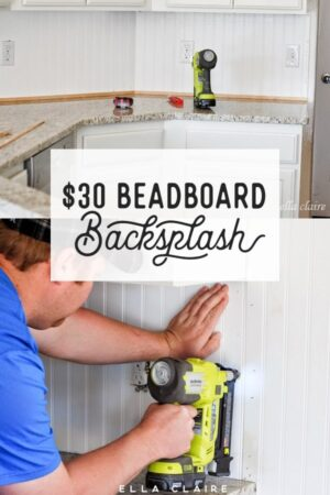 This easy DIY beadboard backsplash is only $30- such a pretty kitchen accent and easy to install!