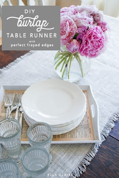 Burlap table runner with perfect frayed edges- an inexpensive and beautiful linen to add warmth and texture to your Fall or everyday tablescape.