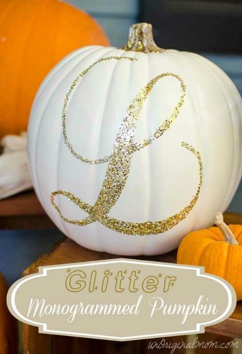 Glitter monogrammed pumpkin and other pumpkin decor and recipe ideas.