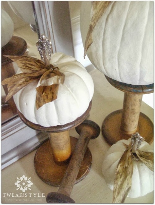 Tarnished silver stemmed pumpkins and other pumpkin decorating and recipe ideas.