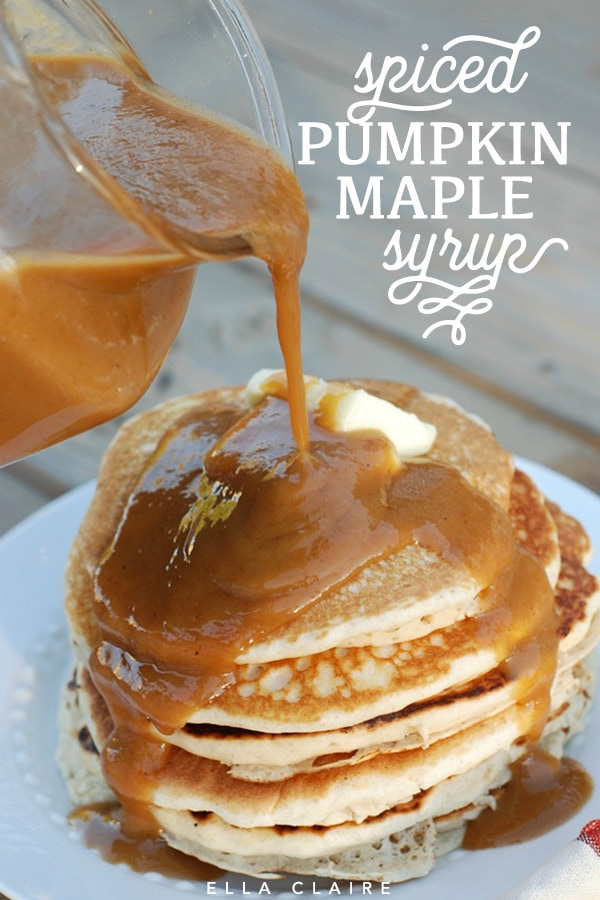 Spiced pumpkin maple syrup recipe- an easy and delicious addition to Fall breakfast #Thanksgiving #sugar #breakfastrecipes #recipes #Fallrecipes