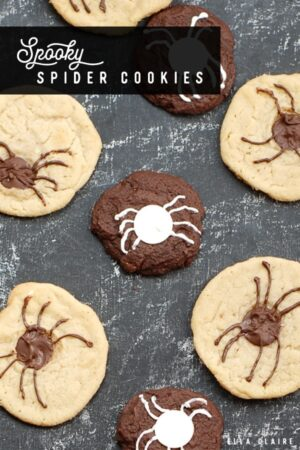 These decorated spider cookies are a fun addition to any Halloween party #chocolatechip #sugar #spooky #cookierecipes #Fallrecipes #halloweenrecipes