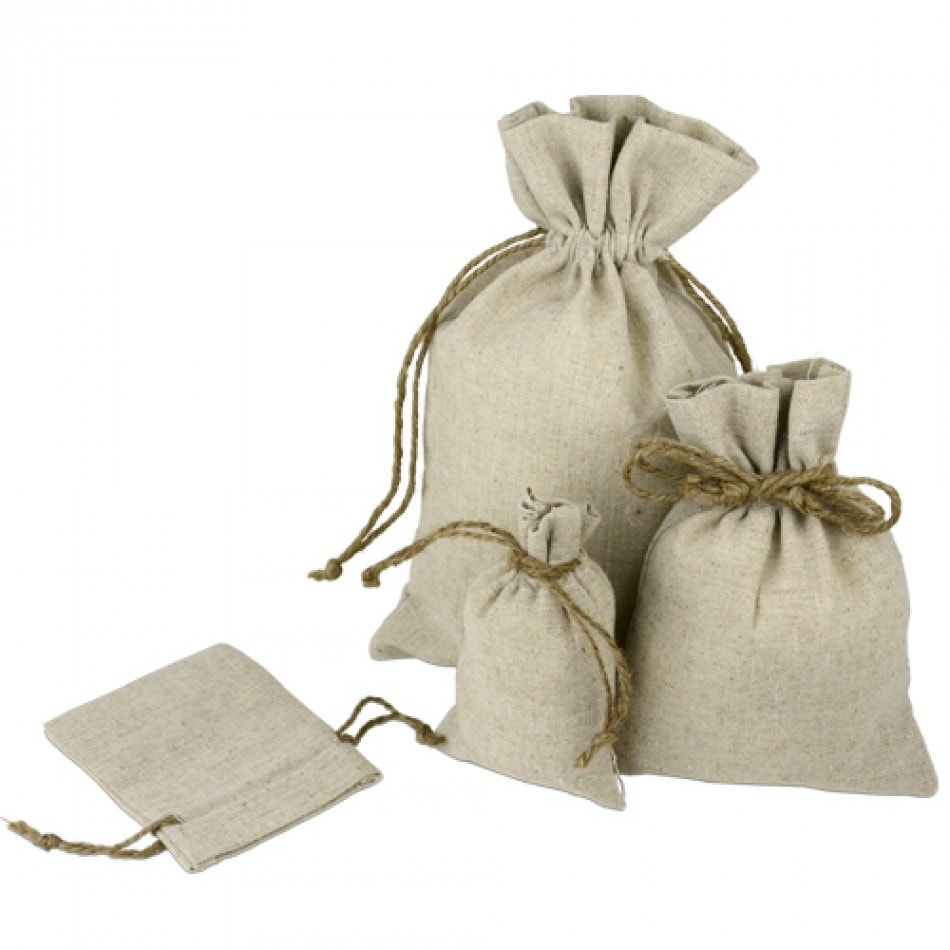 "4"" x 6"" Linen Bags with Jute Cord (12 Pack) - Click Image to Close"