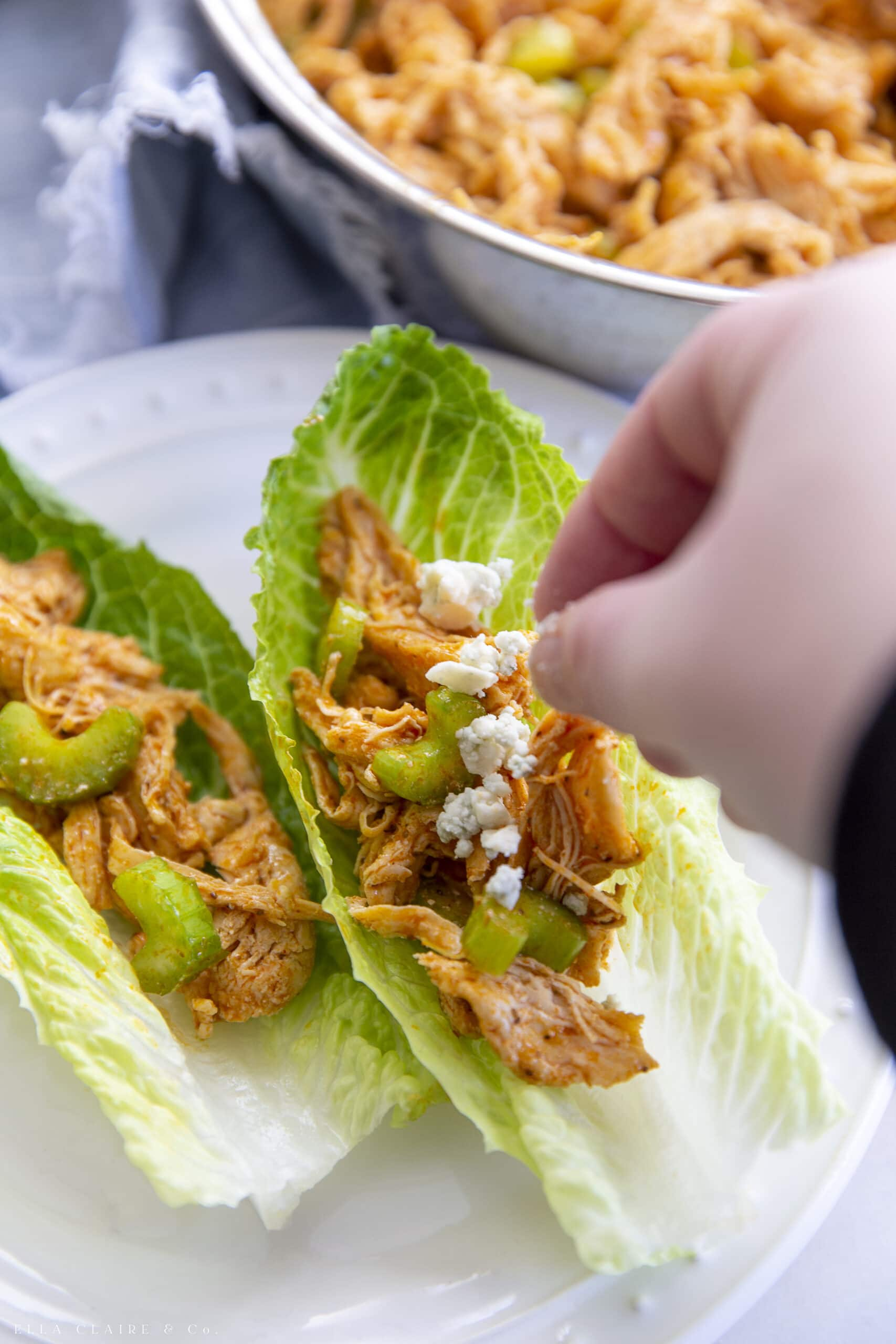 sprinkling buffalo chicken lettuce wraps with blue cheese