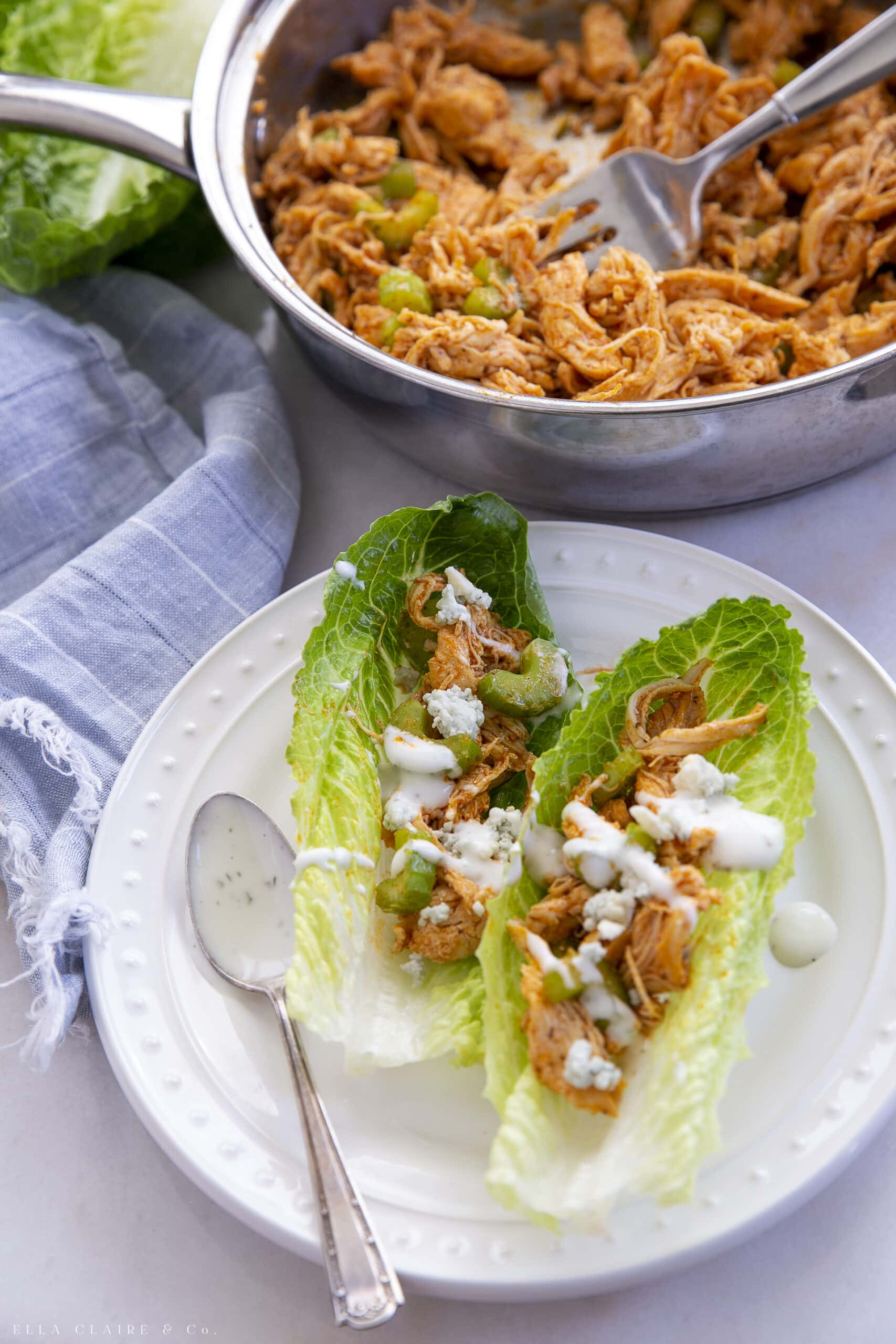 Delicious Buffalo Chicken Lettuce Wraps Ella Claire Co