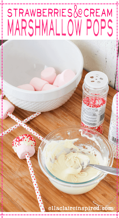 Strawberries and Cream Valentine Marshmallow Pops