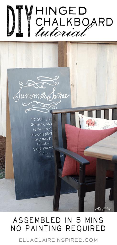 diy hinged chalkboard tutorial ella claire. Black Bedroom Furniture Sets. Home Design Ideas
