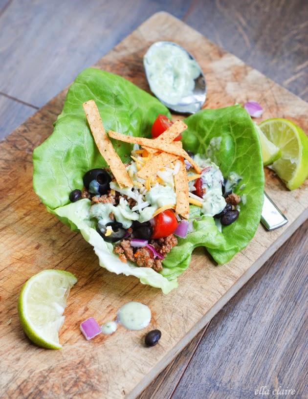 Taco Salad Lettuce Wraps | Avocado Ranch Dressing - Ella Claire
