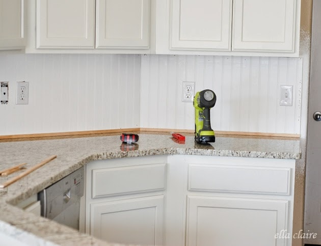 beadboard kitchen backsplash tutorial  ella claire,Beadboard Backsplash Kitchen,Kitchen ideas