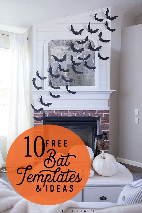 A roundup of free bat templates and printables that are easy, cute decor ideas for Halloween #small #paper #hanging #large #flying #forkids