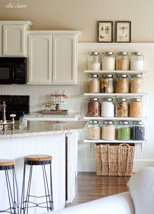 DIY Country Store Kitchen Shelves | More Pantry Space - Ella ... on small color ideas, bar shelves ideas, small studio apartment kitchen idea, kitchen shelves decorating ideas, small corner shelves for kitchen, small kitchens with open shelves, bar kitchen interior design ideas, kitchen cabinets shelves ideas, open kitchen shelves ideas, sauna shelves ideas, small townhouse design ideas, corner kitchen shelves ideas, small pantry shelving ideas, storage shelves ideas, open kitchen cabinet ideas, open shelf kitchen design ideas, home shelves ideas, bedroom shelves ideas, diy kitchen storage ideas, country kitchen shelves ideas,