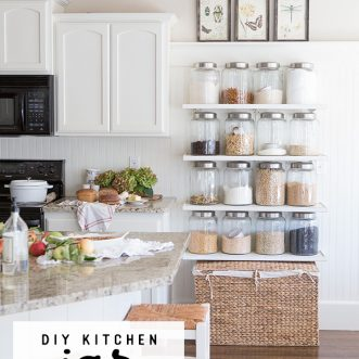 Add extra pantry storage and organization to a small kitchen on a budget with DIY jar shelves. #DIY #decor #ideas #white #farmhouse #howtobuild #farmhousedecor #homedecor #kitchen #design