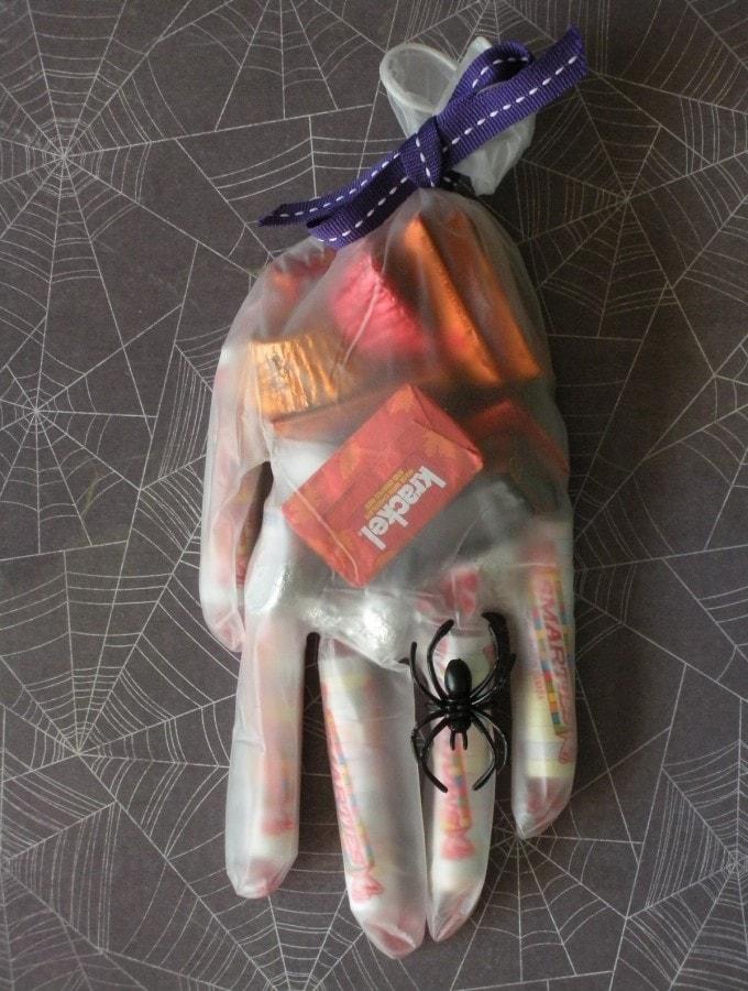 I love this fun surgical glove Halloween treat bag!