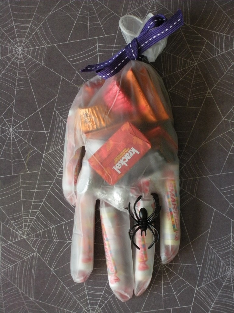 I love this fun surgical glove Halloween treat bag!