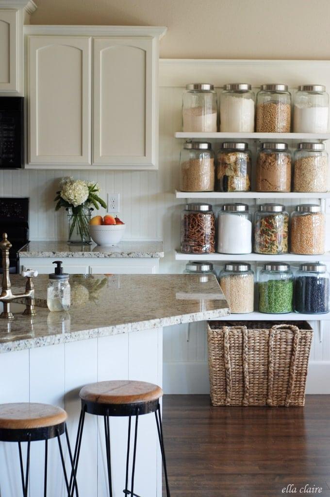 DIY Kitchen Jar Shelves Tutorial - Ella Claire
