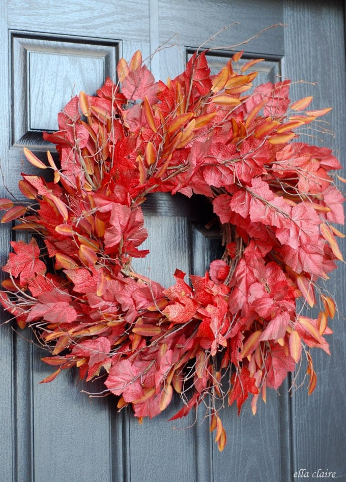 The wreath trick autumn leaves ella claire Fall autumn door wreaths