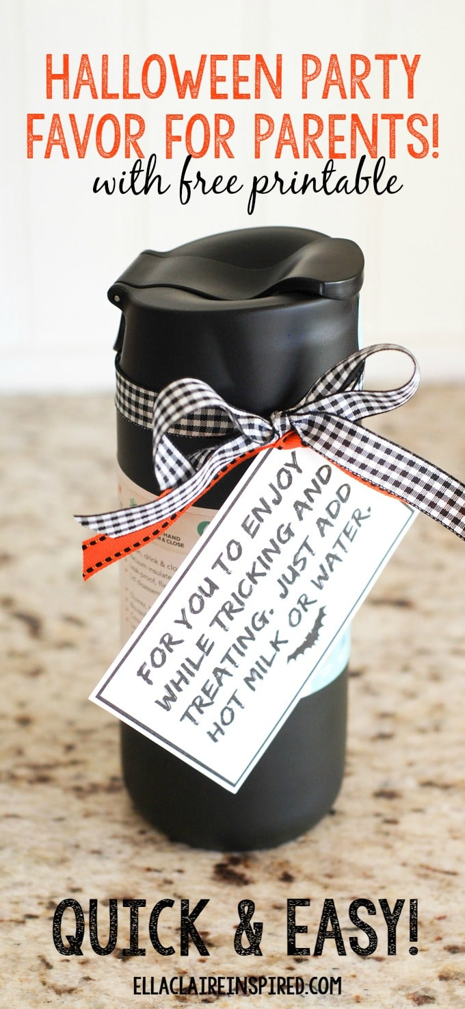 Don't forget to include parents when you make your Halloween party favors! This is super quick and easy, and perfect for friends and neighbors as well!