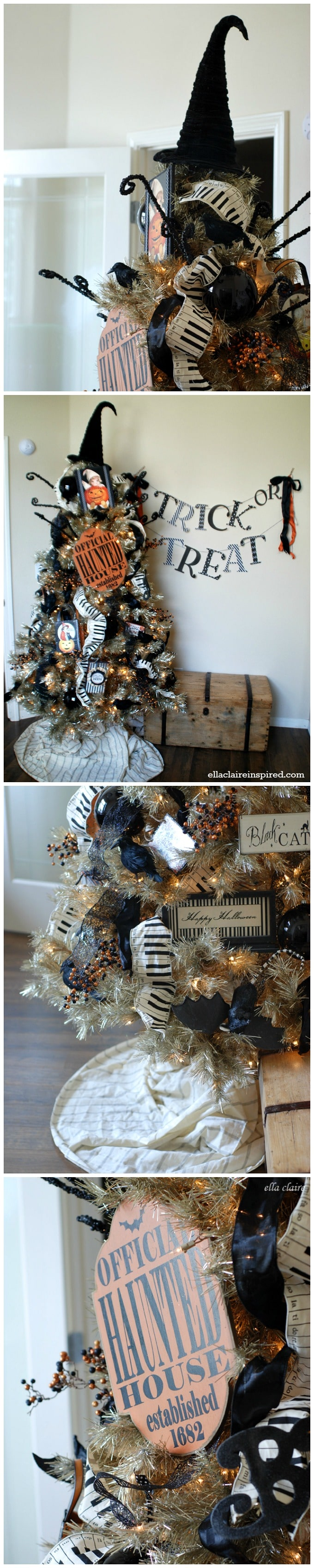 I love this fun Halloween Tree! A fun vintage tinsel tree decorated with handmade and repurposed Halloween decorations.