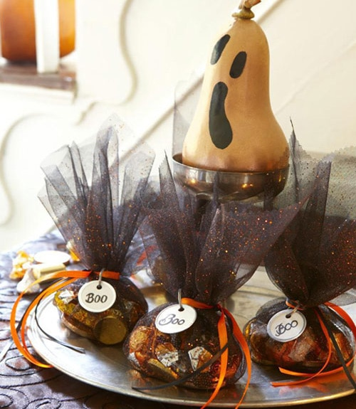 Halloween Candy filled tulle tied with ribbon