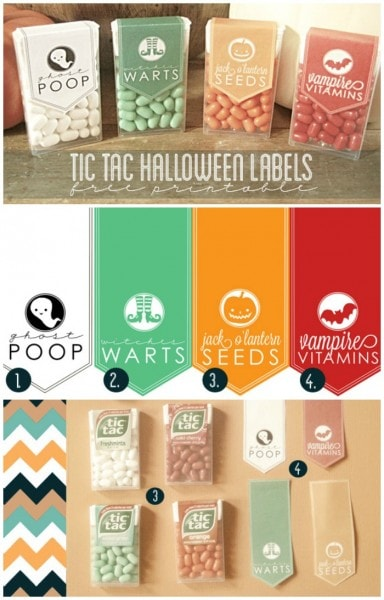 Tic Tac Halloween Favor Labels