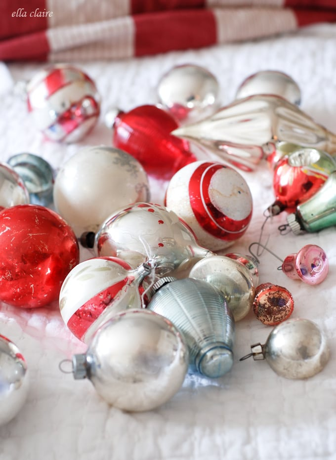 Vintage ornaments are perfect to hang from a chandelier!
