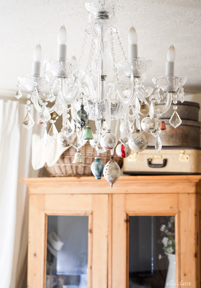 I love this vintage Christmas Chandelier in a bedroom!