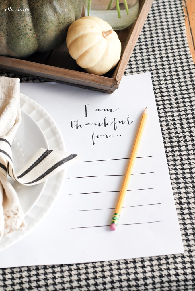 Free Printable Thanksgiving Placemat | I am thankful for...