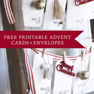 Free printable advent cards and envelopes- perfect to add daily activities, Christmas traditions, or service projects for the month of December. An extra idea- hang with little ornaments to hang on the tree each day.