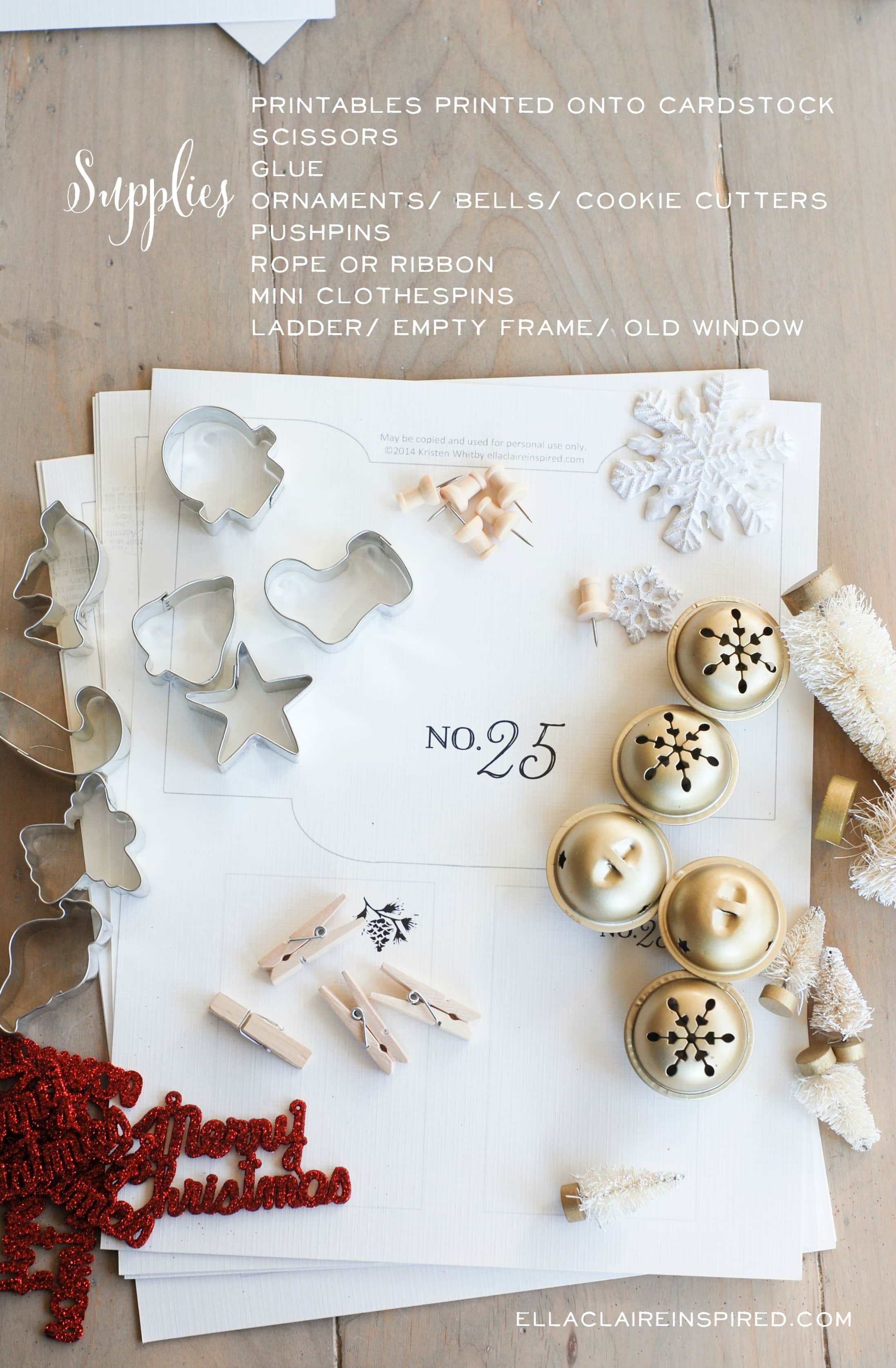 DIY Advent Calendar Tutorial Supplies
