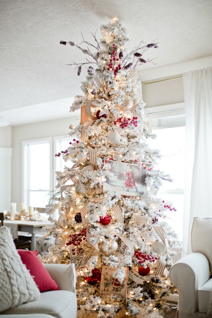 flocked tree 20141124_ella claire christmas_0070 - Flocked Christmas Tree Decorating Ideas