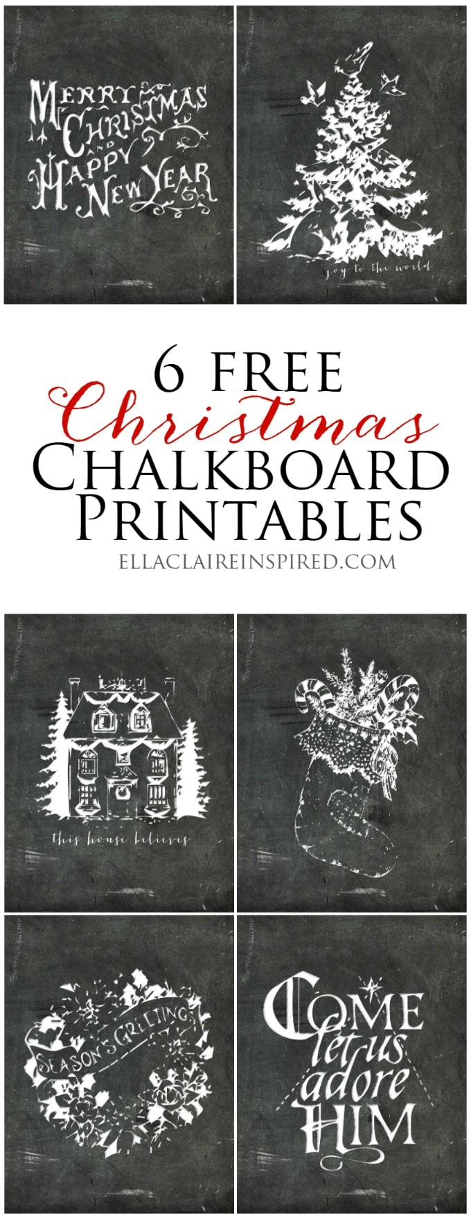 Add vintage charm to your home with these 6 free Christmas chalkboard printables. Get them at ellaclaireinspired.com