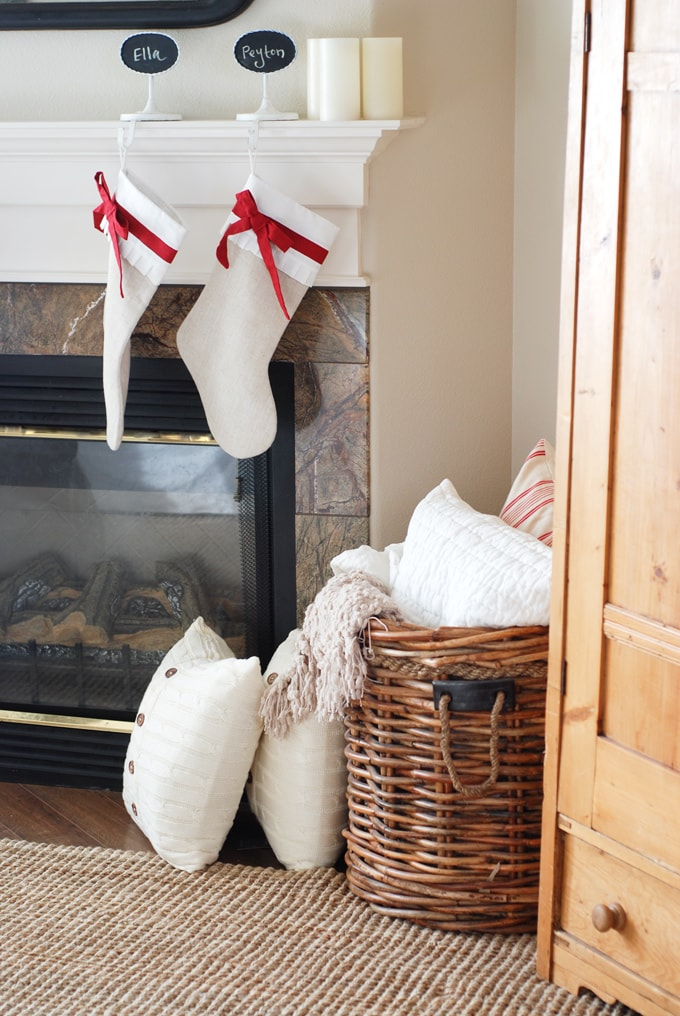 basket with extra blankets and pillows