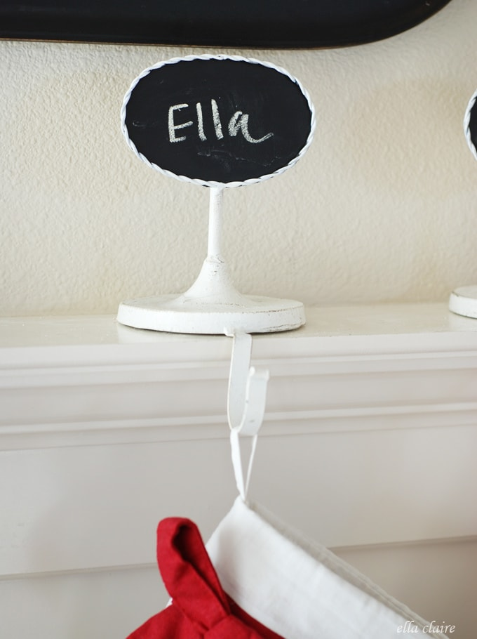 Adorable chalkboard stocking holder