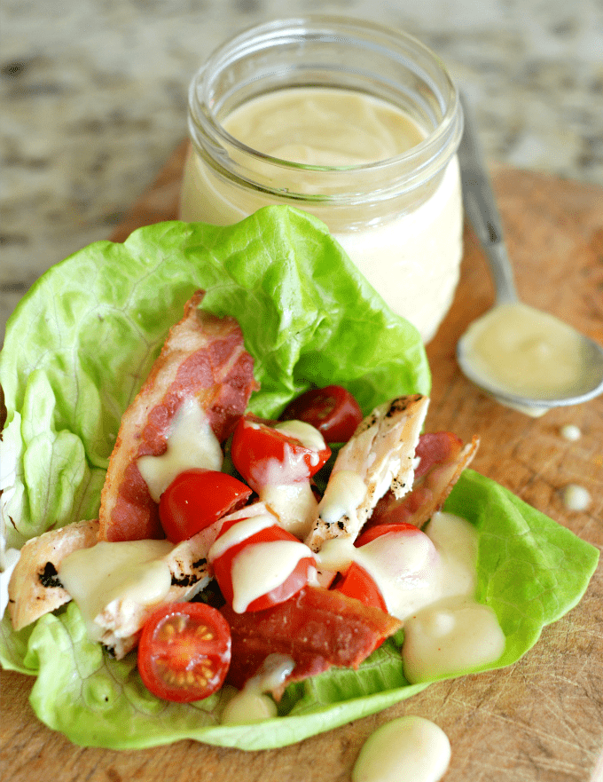 Chicken BLT Lettuce Wraps with Honey Mustard Dressing