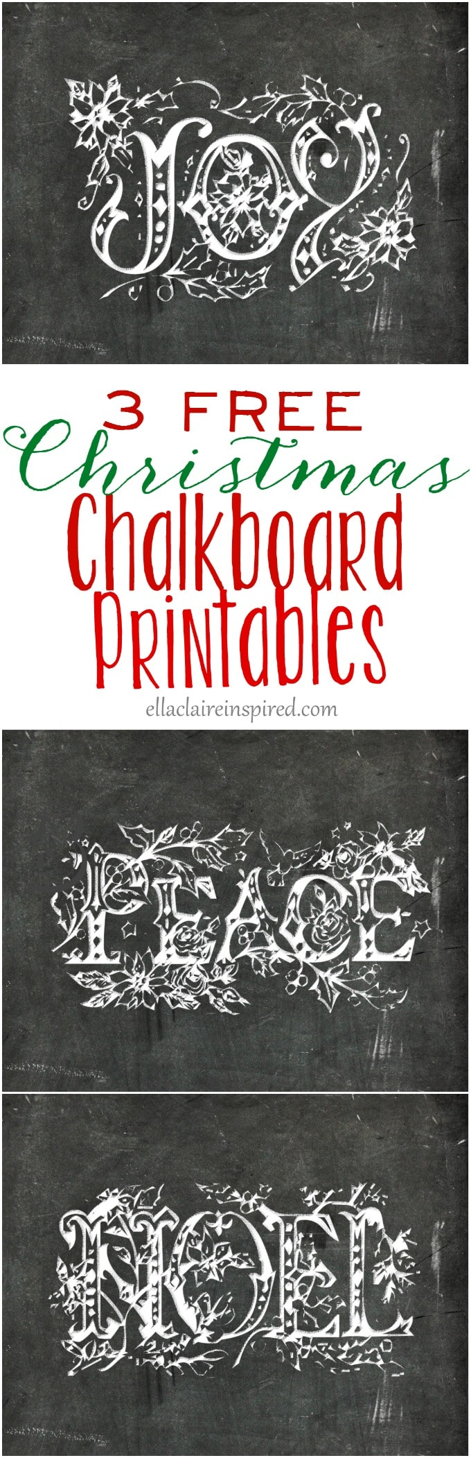 These 3 free chalkboard printables are sure to add vintage charm to your Christmas decor this year! Find the free printable at ellaclaireinspired.com
