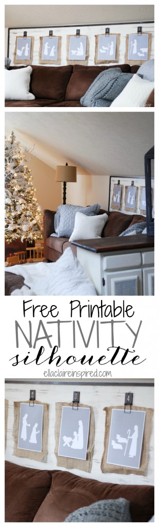 Free Printable Nativity silhouette scene. Perfect for clipping up, framing or hanging on the tree.