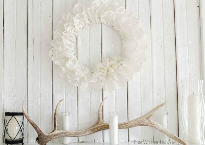 Paper heart doily wreath